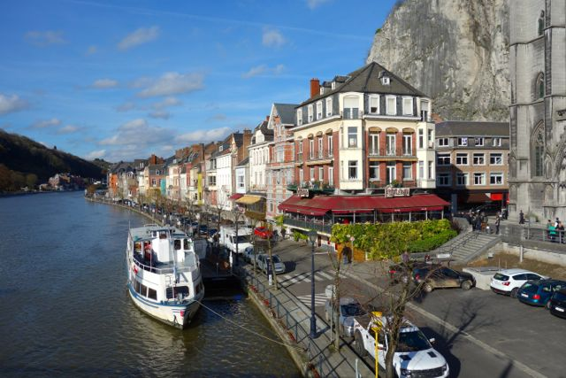 That's our campervan 'Charlie' parked along the Lesse River in Dinant