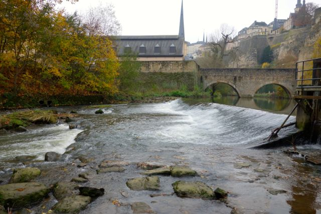 Crossing the bridge to the Grund (oldest part of town)