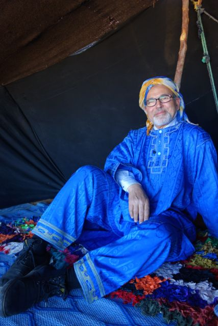 Guide and friend Lazrak hanging in a Berber tent