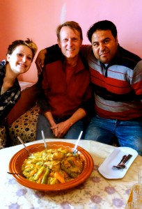 Mali, Aaron, and our kind host for traditional couscous in Midelt