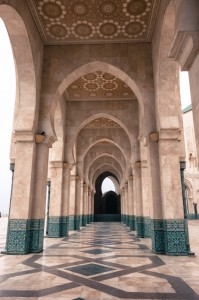 A portico leading to the Hassan II Mosque
