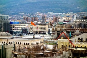 Macedonia Square surrounded by ever-under-construction Skopje