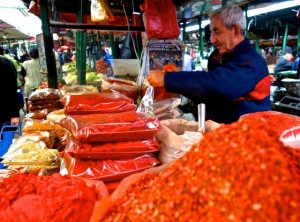 Paprika vendor in the Skopje Old Bazaar