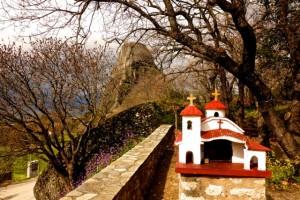 """""""Spirit House"""" next to a monastery"""