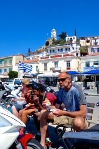 The Mitchell's enjoying a lunch of souvlaki