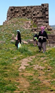 Colorfully garbed women search for herbs amongst the ruins