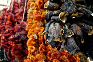 Dried eggplant and peppers