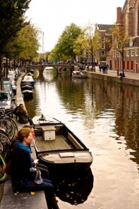 Hanging out for lunch on the edge of a canal