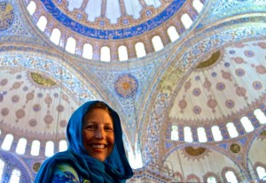 Tammy in awe in the Blue Mosque