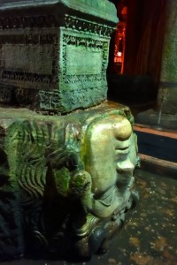Repurposed Medusa head column base in the Basilica Cistern