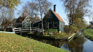 Typical Dutch canal house in Zaanse Schans