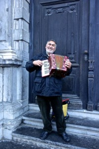 Friendly accordian busker