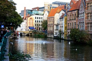 Residential and commercial areas alike line the canals