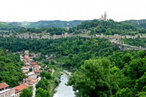 Tsarevets Fortress on one of the penisulas that create Veliko Tarnovo