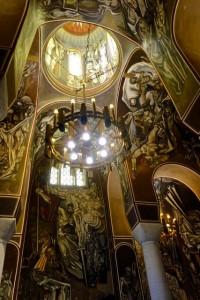 Dramatic interior of church atop the Tsarevets Fortress
