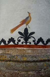 The monastery is adorned with fanciful animals