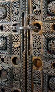 Carved wooden church doors