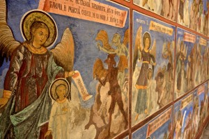 Scenes of hell adorn the church exterior