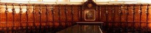 The wooden inlaid chorus seats in the cathedral