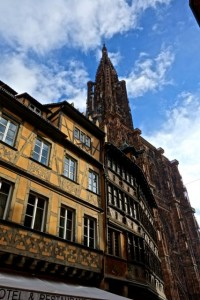 Half-timbered buildings beneath the Strasbourg Cathedral
