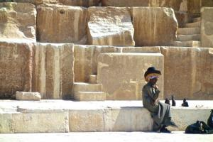 Hat seller in front of The Great Pyramid at Giza