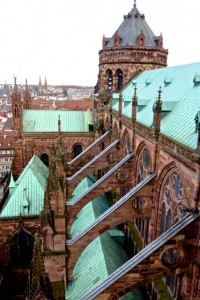 Flying buttresses support the weight of the roof
