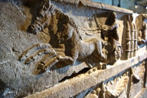 Horse and chariot on a sarcophogi in the Gallo-Roman Museum
