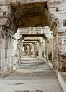 Marble-clad hallways in the Roman arena