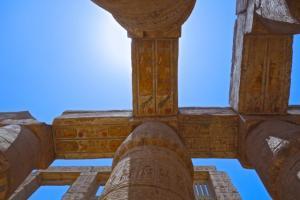 Gazing up at the phenomenal lintel carvings at Karnak Temple
