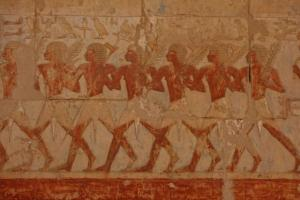Painted hieroglyphs in Chapel of Hathor at Queen Hatshepsut's Temple