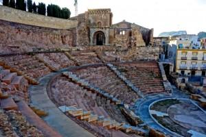 Roman amphitheatre with a Romanesque basilica