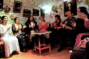 Flamenco troop/Roma family performing in a cave