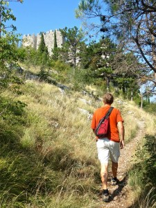 Hiking up the hill to explore Stjepan grad