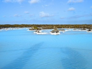 The pearly blue waters of the Blue Lagoon lapping mossy lava