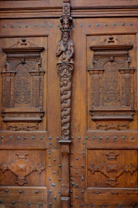 Carved wooden doors on American embassy