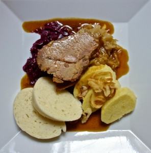 Fantastic lunch of pork tenderloin, saurkraut, dumplings, brown beer sauce
