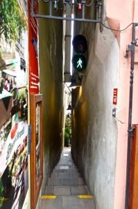 One way pedestrian alley