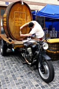Wine right out of the motorbike barrel!