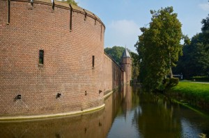Surrounding the wall is another moat