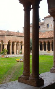 Unique courtyard at San Zeno with both Romanesque and Ottoman influences