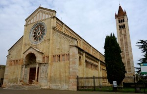 The grand Romanesque Basilica of San Zeno Maggiore