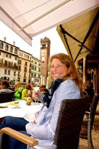 Enjoying a local wine at Piazza Erbe
