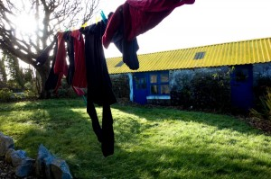 Laundry freezing on the line outside the cottage in Kinvarra