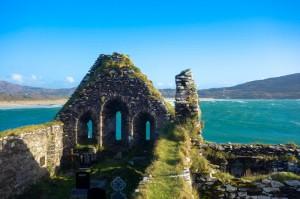 Monastery ruins overlooking Derrynane Beach