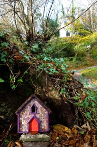 Wee fairy house made of urchin shell at Derrynane House