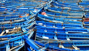 Traditional fishing boats tied up and rocking in the marina