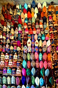 Handmade women's babouches (shoes) are colorful but not so comfy