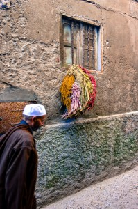 Drying wool in the worker's quarter