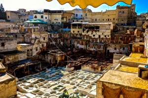 Fez tannery is tucked into edge of the medina