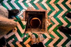 """Looking down into the """"brides"""" chamber in the ancient synagogue"""